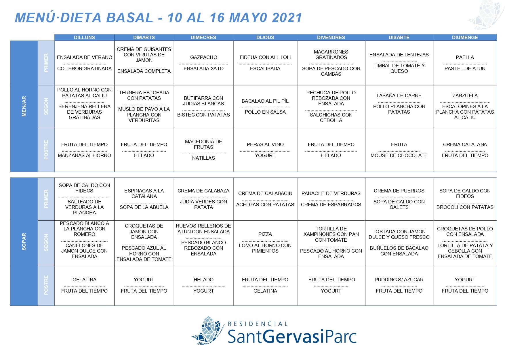 Menú del 10 al 16 mayo 2021