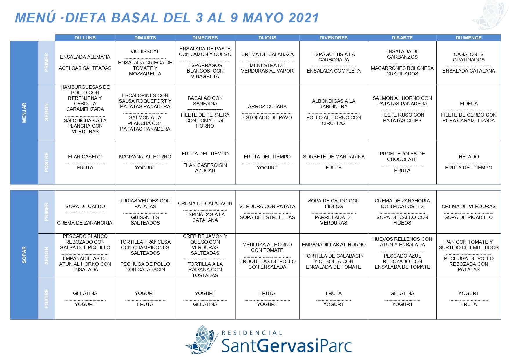 Menú del 3 al 9 Maig 2021